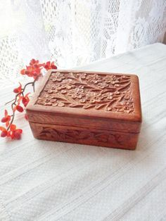 Hand Carved Wooden Box Sheesham Wood Box from by MountainThyme1