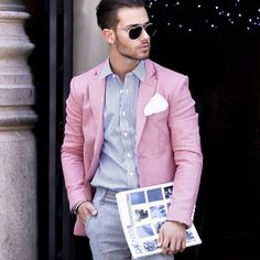 Men's Fashion | Menswear | Men's Outfit Ideas for Spring/Summer | Pink Sport Coat, Striped Shirt | Moda Masculina | Shop at DesignerClothingFans.com
