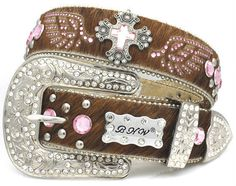 BHW Western Cross Pink Brown Hair on Hide Leather Belt Crystal Wings Xmas #BHW