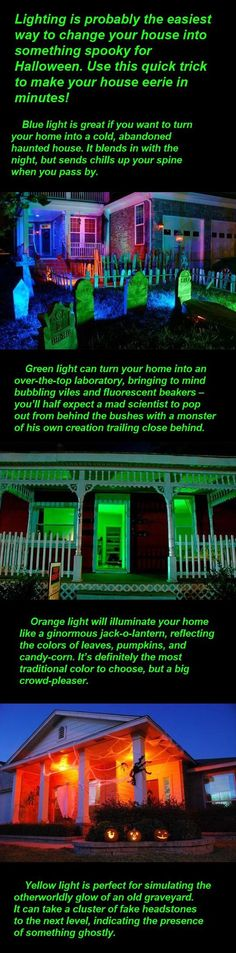 addi use lights to make your house even spookier at halloween i used green bulbs in my porch light last year to make it look spooky