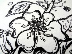 Blossom Flowers Ink Pen Drawing 5 X  7 Black & White by ArtbyAeris
