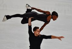 France's Vanessa James and Morgan Cipres compete in the pairs free skating event at the ISU World Figure Skating Championships in Helsinki, Finland on March 30, 2017... / AFP PHOTO / John MACDOUGALL