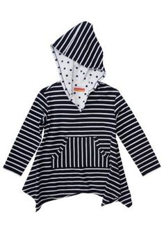 Kate Mack Girl's 7-16 Monte Carlo Coverup in Navy - How did she ever live without this striped hoodie? In navy and white cotton knit, it's versatile enough to wear over swimsuits, shorts or jeans. Charming polka dots inside the hood add yet another measure of fun!