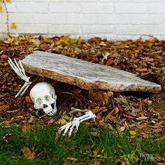 Pieces of a plastic skeleton make a creepy entrance in this simple outdoor Halloween decor idea. Make the Halloween craft: Prop up an odd-shape piece of slate at an angle. Tuck skeleton hands and skull in a pose and scatter fallen leaves around the scene. Easy Halloween Crafts, Creepy Halloween, Halloween Garden Ideas, Halloween Dishes, Halloween Coffin, Classy Halloween, Halloween Graveyard, Homemade Halloween, Halloween 2017