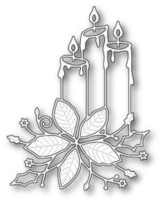steel craft die from Memory Box featuring three candles and a beautiful poinsettia flower. Christmas Candles, Christmas Art, Christmas Decorations, Xmas, Christmas Ornaments, Handmade Christmas, Memory Box Dies, Christmas Stencils, Poinsettia Flower