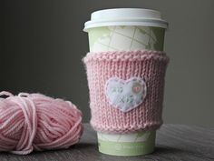 Knit a coffee cozy for someone who you know likes their cup of joe to go. #valentinesday #diy #crafts