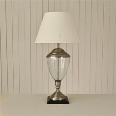 OneWorld Antique Silver & Glass Urn Table Lamp with Shade