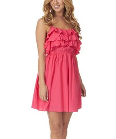 Look at this Pinkblush Fuchsia Ruffle Empire-Waist Dress on #zulily today!