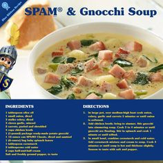 Love SPAM? Love Italian soups? Then you'll love this #recipe! Gnocchi Soup made with SPAM and veggies :)