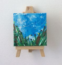 Poppies and Buttercups Miniature Painting, Acrylic on Canvas, Miniature Artwork £5.00