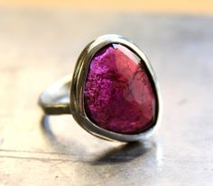 Hey, I found this really awesome Etsy listing at https://www.etsy.com/listing/126779827/rose-cut-pink-tourmaline-hammered-band