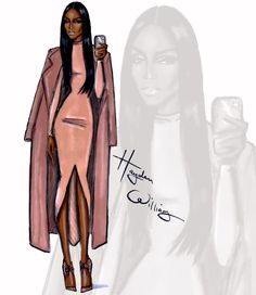 Hayden Williams Fashion Illustrations: The Selfie Series by Hayden Williams: 'Coral Chic'