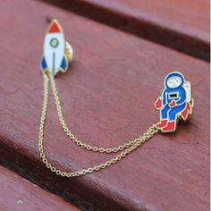 Cadena de la borla de Esmalte Lindo de la Aleación del metal Astronauta Cohete Broche Cuello Clip Broches Accesorios Mejor Regalo Para Las Mujeres