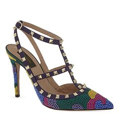 Introduce a striking take on Valentino's signature style with the Shining Camo 100 heeled courts. With their multi-coloured jewelled finish and distinctive pyramid-studded trim, this pair bring an eye-catching finishing touch to glamorous eveningwear. Valentino Rockstud Heels, Shoe Boots, Shoes Heels, Signature Style, Jimmy Choo, Me Too Shoes, Camo, High Heels, Footwear