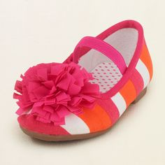 baby girl - shoes - pompom stripe ballet flat | Children's Clothing | Kids Clothes | The Children's Place