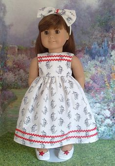 Red White and Blue Nautical Dress and Headband by MyGirlClothingCo, $18.00
