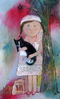 anna silivonchik. Cat with girl