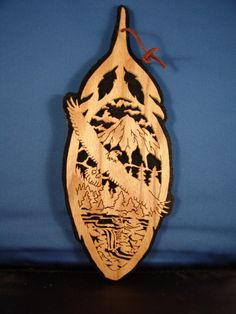 Eagle Feather - Wild and Free. Scroll Saw work (not laser cut) on etsy