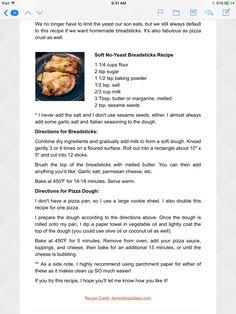 No yeast breadstick and pizza dough  Breads/Pasta/Pizza No yeast breadstick and pizza dough Homemade Breadsticks, Pizza Dough, Pasta, Baking, Recipes, Bakken, Backen, Noodles