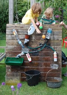 A water wall - lots of fun and great outdoor sensory, science play.
