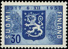 c 1957 stamp...Vintage Finland Postage Stamp...  30p  (1917-1957) Independence stamp