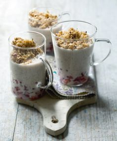 Riz au lait de coco, grenade et crumble de noisettes / Recette de riz au lait healthy / Healthy recipe