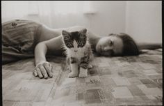She and her cat by Klem