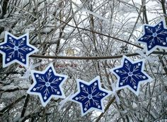 Felt Snowflake Garland by PatriciaWelchDesigns on Etsy