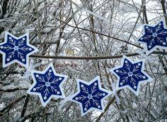 Felt Snowflake Garland by PatriciaWelchDesigns on Etsy