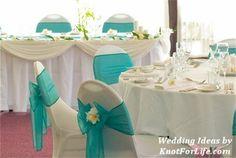 White and Aqua Blue Wedding Table Decoration