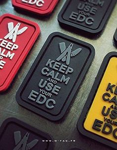Moral-Decal-Patch-034-Keep-Calm-and-Use-Your-EDC-034-Velcro-Every-Day-Carry-Grau