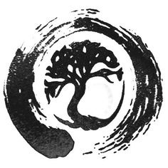 love the combination of tree of life and enso symbol in this tattoo