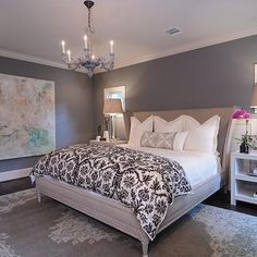 Gray Walls, Contemporary, bedroom, Benjamin Moore Chelsea Gray