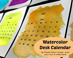 Watercolor Desk Calendar | 18 Easy DIY Art Projects You Can Make With Watercolors