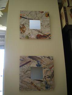 Ikea Mirror, Malm, Ikea Hack, Painting On Wood, Decoupage, Stencils, Mosaic, Diy Projects, Diy Crafts