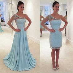 Unique Custom Made Sheering Sleeves Beaded One-shoulder Prom Dress with Detachable Skirt,42104