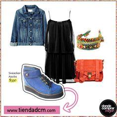 Convertí básicos como un vestido negro y una campera de jean en un look fuera de serie con estos sneackers. ¿Te gusta?  Compralos ➜ www.tiendadcm.com/venta/Sneacker+Azules/84251