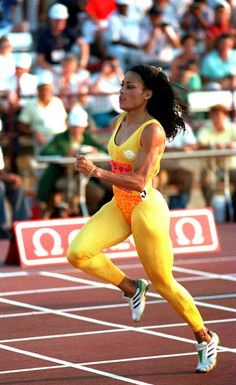 "Griffith Joyner won 5 Olympic medals in her career gold, 1 silver) and shattered two world records. ""Flo Jo"" died in 1998 at the age of Flo Jo, Female Runner, 3d Studio, Sport Icon, Olympic Games, Olympic Medals, Sports Stars, Track And Field, Soccer"