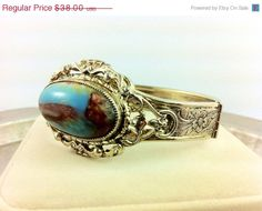 Gold Whiting and Davis Bracelet with Turquoise Copper Cabochon, floral engravement. Jewelry Fashion on Etsy, $32.00