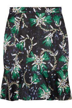Mary Katrantzou Genero flared jewel-print satin skirt | NET-A-PORTER