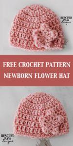 Crochet Newborn Flower Hat || FREE CROCHET PATTERN || Rescued Paw Designs - Newborn Hat Crochet Pattern