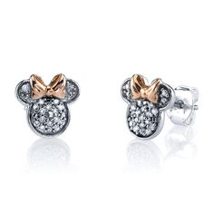 Disney ct tw diamond Minnie Mouse post earrings are made of sterling silver with pink gold bow accents. Earring size: x Weight: grams. Officially licensed by the Walt Disney company. Silver Diamonds, Diamond Studs, Diamond Jewelry, Diamond Earrings, Stud Earrings, Silver Jewellery, Jewellery Shops, Emoji Earrings, Diamond Necklaces