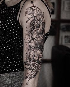 Cat and flower sleeve tattoo - 100+ Examples of Cute Cat Tattoo  <3 <3