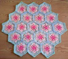 Crochet Baby Blanket African Flower Hexagon Granny Square