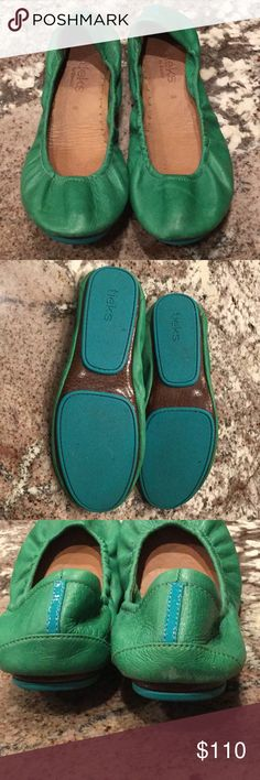 Tieks Green Leather size 8. Selling a pair of green leather Tieks. Size 8. Only worn a handful of times. (My feet changed size after pregnancy :( ). Overall very good condition. Slight wear at Back right heel. Toes are in great shape. There is a scratch on one toe. All photographed. No box. Tieks Shoes Flats & Loafers