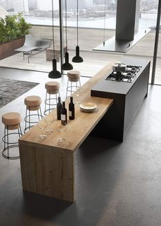 Modern Kitchen Interior The contemporary kitchen borrows high functionality and streamlined surfaces from the modernist design movement, but its style often incorporates received Outdoor Kitchen Design, Home Decor Kitchen, Interior Design Kitchen, Home Design, Design Ideas, Kitchen Ideas, Outdoor Kitchens, Kitchen Lamps, Wall Design