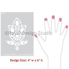 Small Flower Craft Stencil - Amisha Indian Wall Art Stencil by Royal Design Studio Stencils
