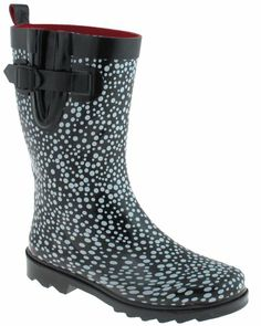Cool Capelli New York Pebble Pattern Printed With Buckle Ladies Short  Sporty Rain Boot Black Combo