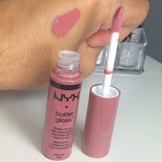 "NYX Butter Gloss in ""Angel Food Cake"" - mauvy pink lip gloss /Also get in Praline- peachy-brown"