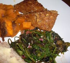 One Local Summer: Whiskey marinated tempeh, greens and sweet potatoes
